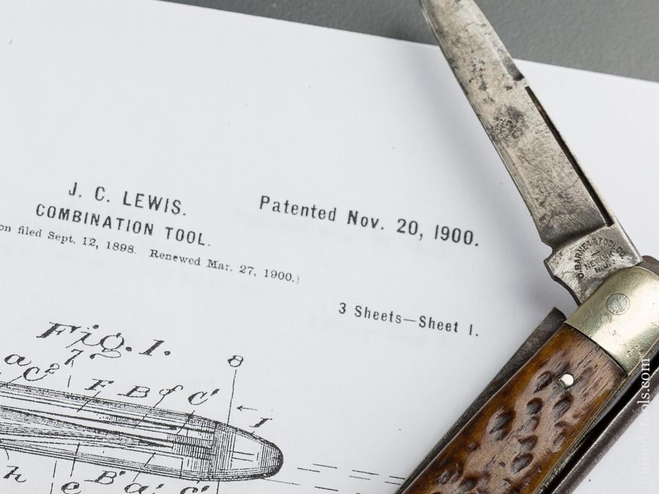 Rare! LEWIS Patent November 20, 1900 BARNETT TOOL CO Combination Pocket Knife and Pliers - 79459U