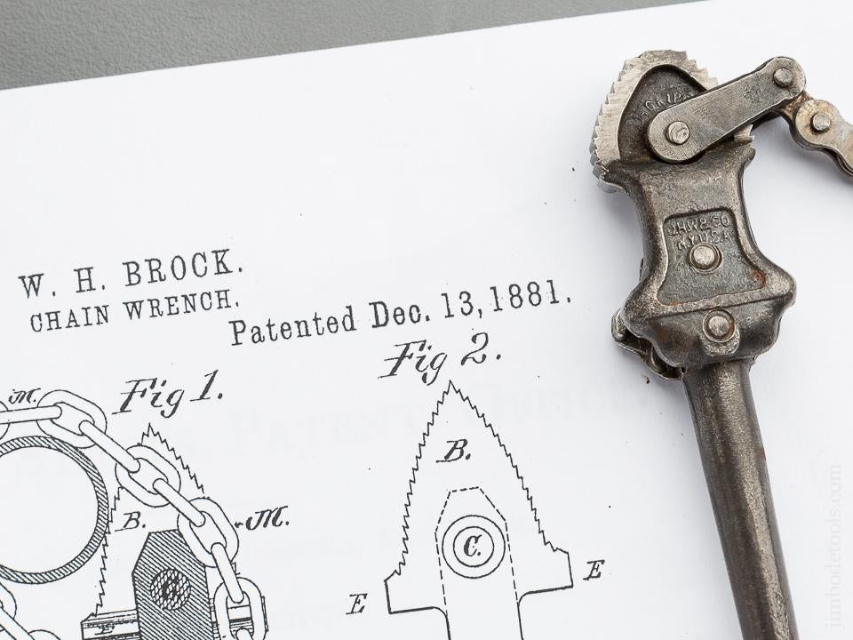 Very Rare! Seven inch BROCK Patent December 13, 1881 WILLIAMS & CO Vulcan Chain Pipe Wrench Salesman's Sample - 79469U