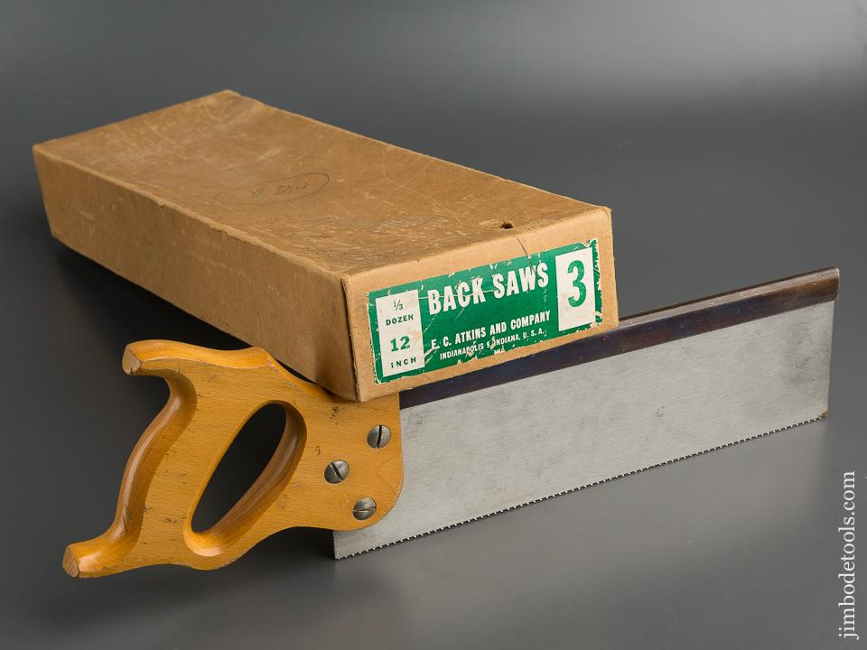 Twelve inch ATKINS No. 3 Tenon Saw MINT in Original Box - 79545