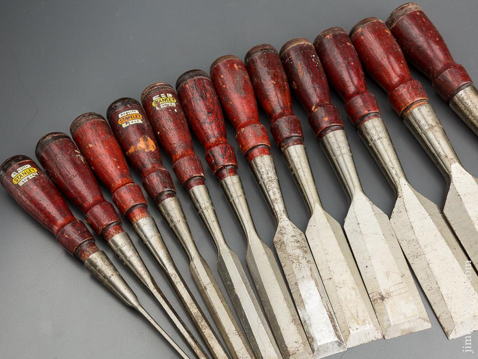 NEAR MINT Set of Twelve STANLEY No. 750 Socket Chisels - 79760
