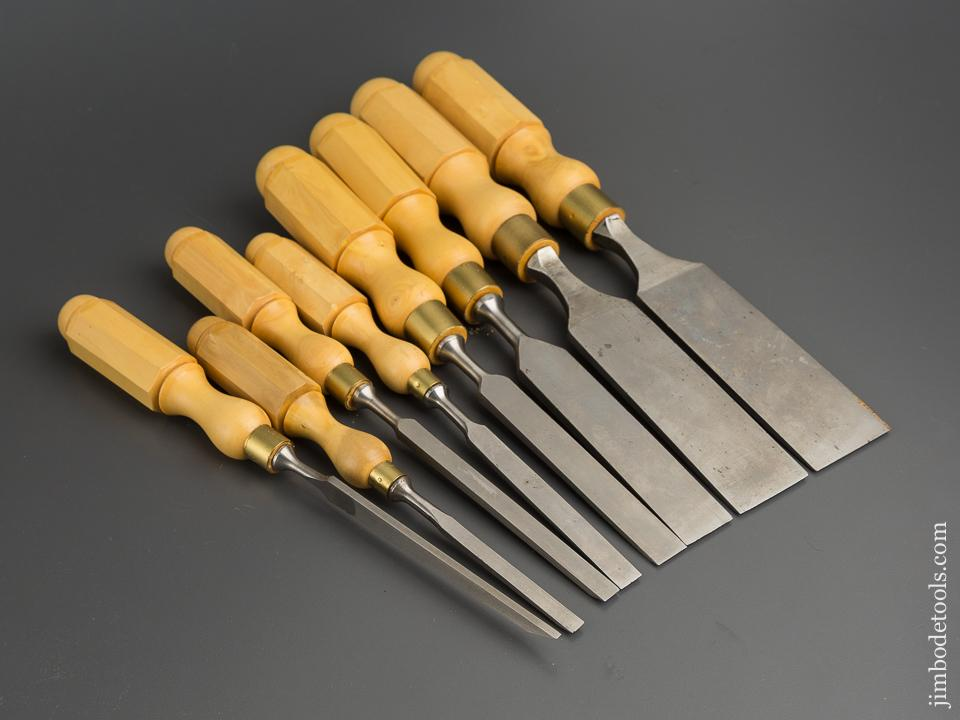 NEW OLD STOCK Set of Eight JAMES SWAN Tang Firmer Chisels with London Boxwood Handles ALL UNUSED! - 79791