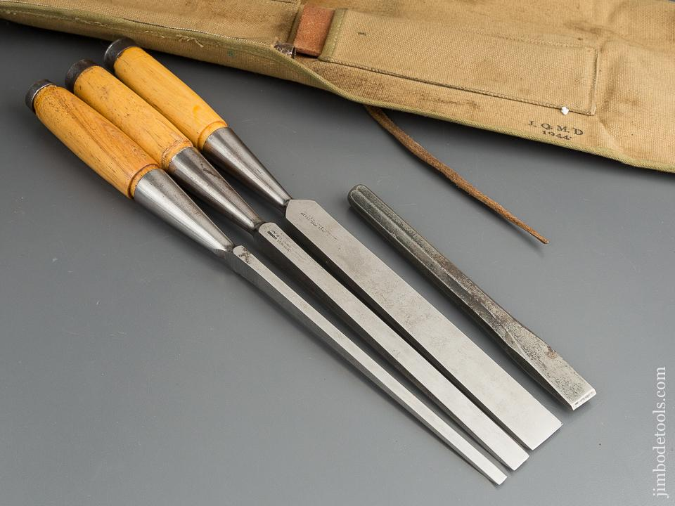 NEAR MINT Light Framing WITHERBY WINSTED EDGE TOOL Chisel Set in Canvas Roll NEW OLD STOCK - 80000