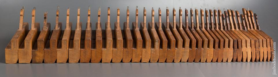 AMAZING! Full Set of 36 GRIFFITHS NORWICH Hollows & Rounds Moulding Planes circa 1803-1958 SKEWED - 80028