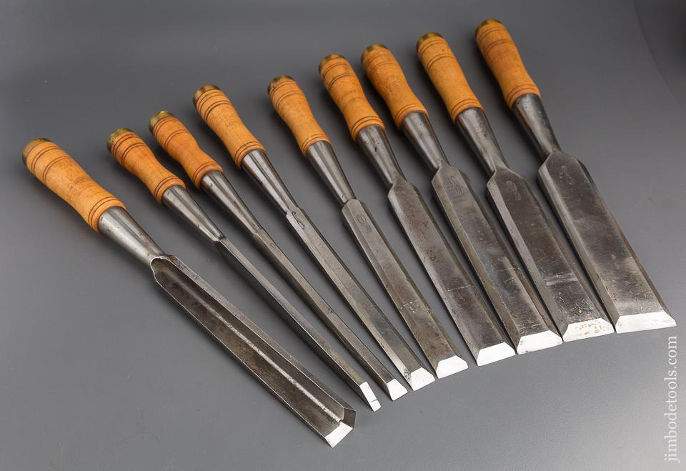 Amazing! Set of Nine KEEN KUTTER Heavy Framing Chisels - 80136