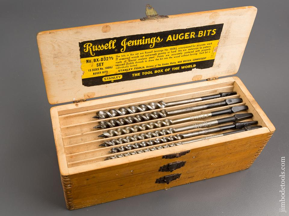 Complete Set of 13 RUSSELL JENNINGS Auger Bits in Original 3 Tiered Box - 81258