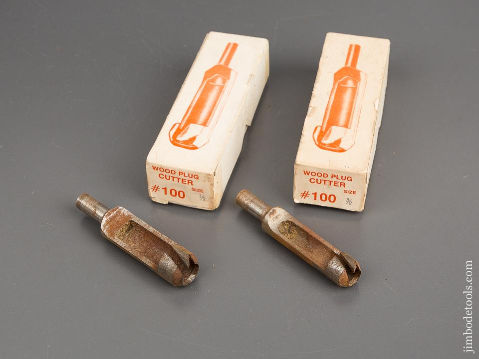 1/2 inch and 3/8 inch CONN VALLEY MFG No. 100 Wood Plug Cutters in Original Boxes - 81648
