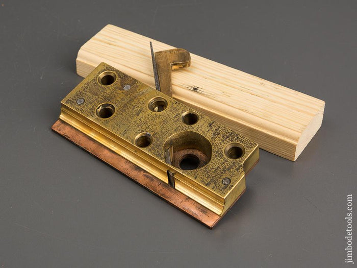 Unusual Solid Brass 1/4 inch Round Moulding Plane with Copper Fence - 81905R