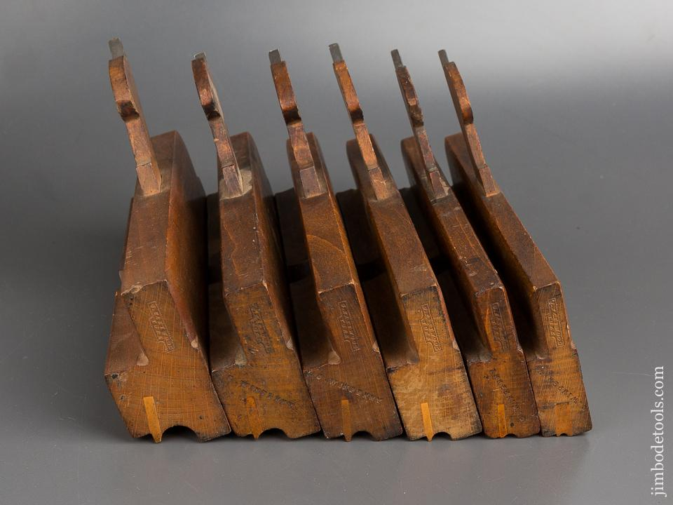 Great Matched Set of Six G. EASTWOOD YORK Side Bead Moulding Planes circa 1851-1899 CRISP - 82850