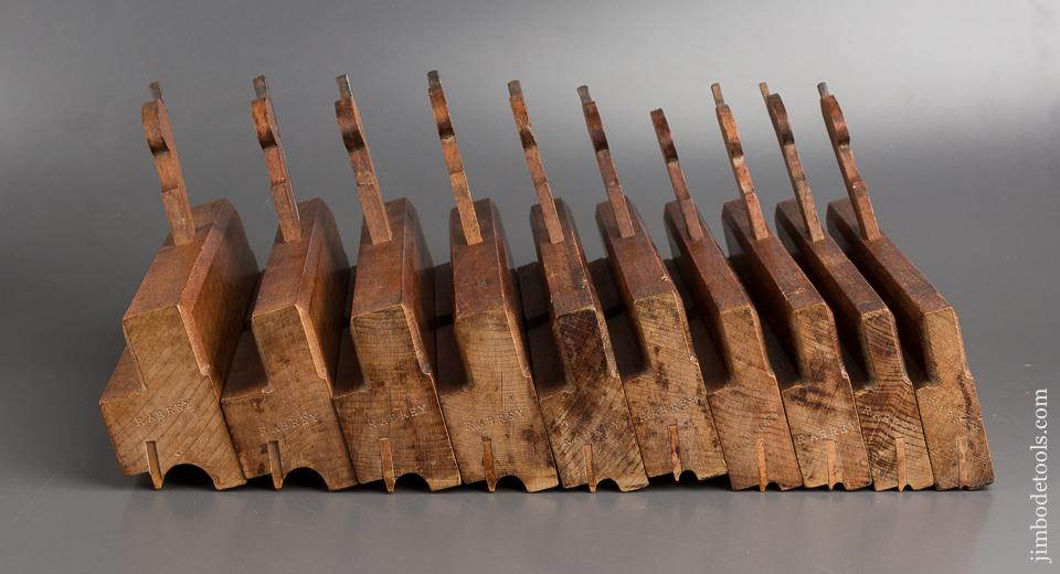 Massive! Matched Set of Ten ROUTLEDGE BIRMINGHAM Side Bead Moulding Planes circa 1876-1944 CRISP - 82852