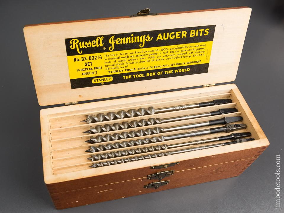 Complete Set of 13 RUSSELL JENNINGS Auger Bits in Original 3 Tiered Box - 82873