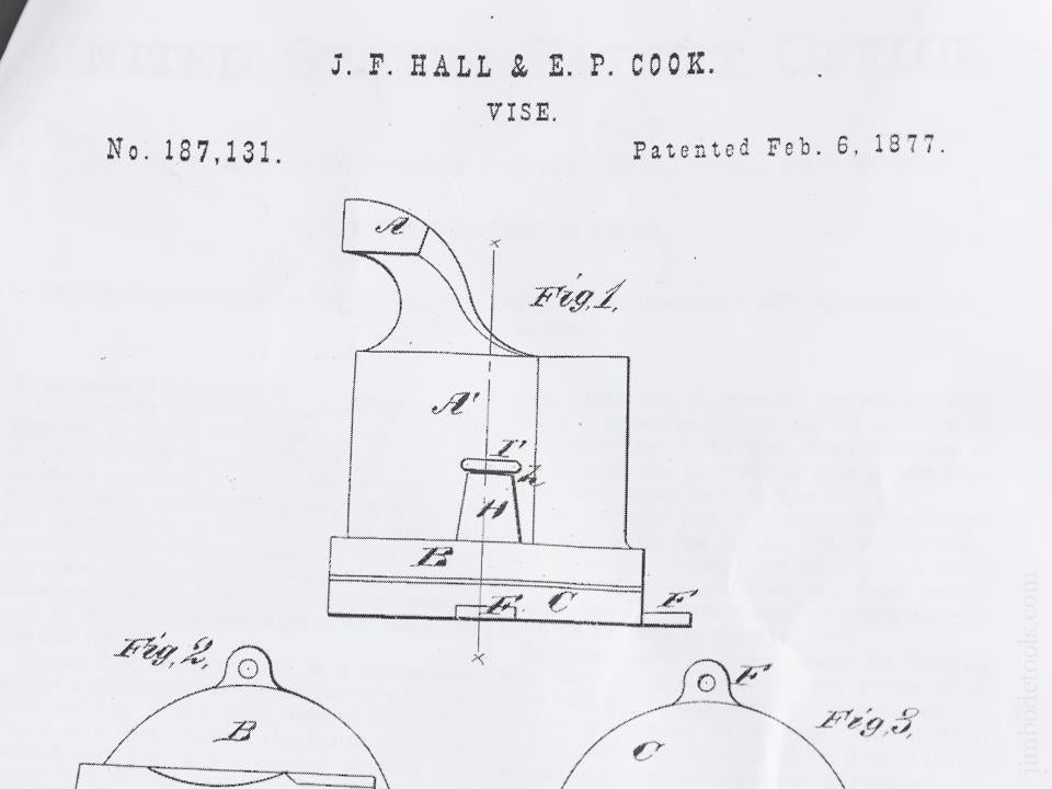 HALL & COOK Patent February 6, 1877 PRENTISS VISE CO NY Nickel Plated Vise - 83006