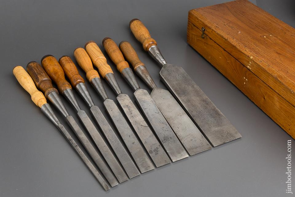 Good User Set of Nine T.H. WITHERBY Socket Firmer Chisels in Original Box - 83154