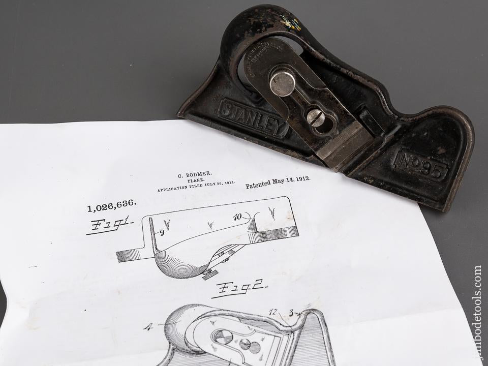 BODMER Patent May 14, 1912 STANLEY No. 95 Edge Trimming Block Plane - 83233
