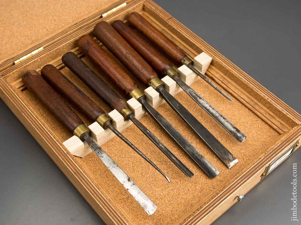 Set of Seven J.B. ADDIS Mahogany Handled Carving Tools in Cork Lined Wooden Box - 83245