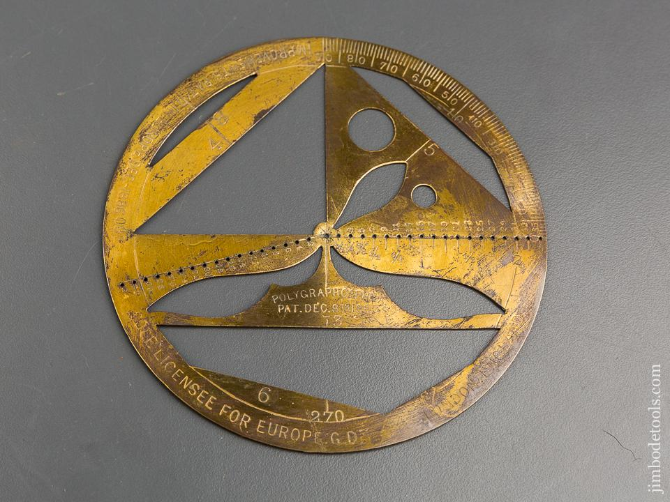 4 3/4 inch POLYGRAPH CO Patent December 8, 1885 Protractor - 83282