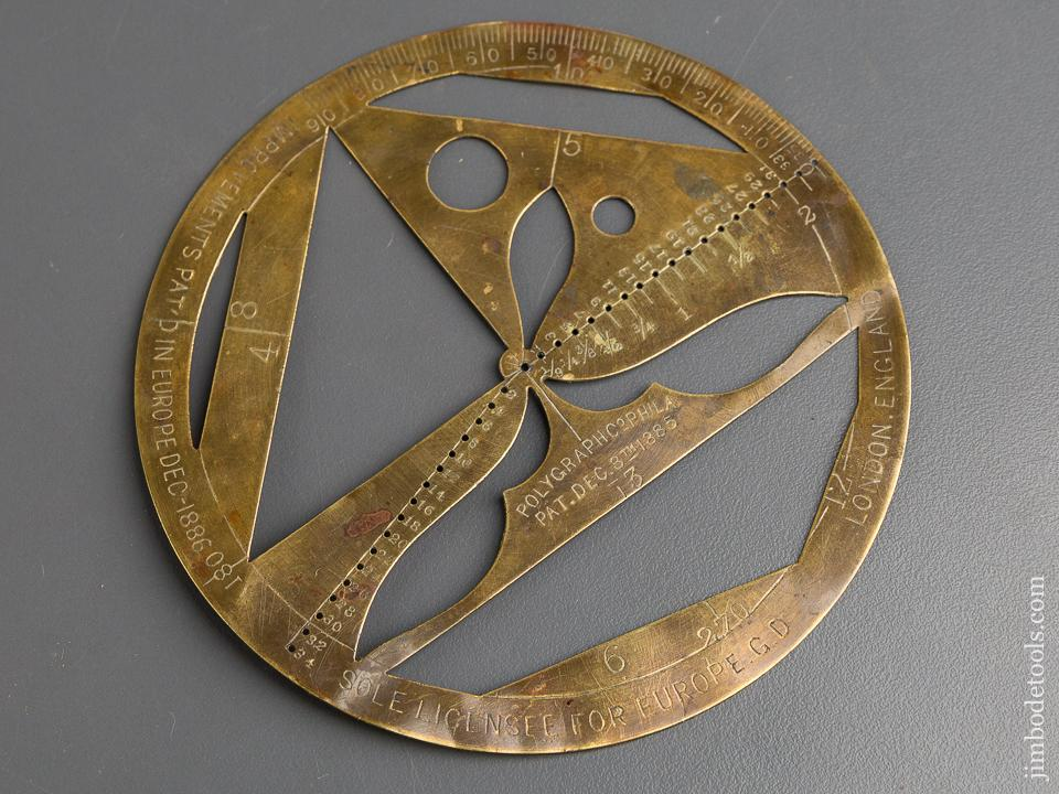 4 3/8 inch Brass POLYGRAPH CO Patent December 8, 1885 Protractor - 83286