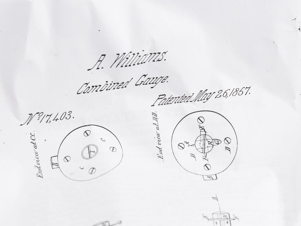 Seven inch WILLIAMS Patent May 226, 1857 STANLEY No. 90 Rosewood & Brass Combination Gauge - 83336