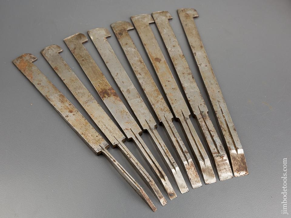 Set of Eight Graduated Numbered 1-8 SORBY Plow Plane Irons - 83340