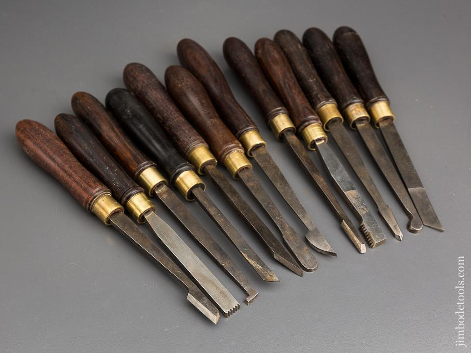 Set of Twelve Rosewood Handled B & H LTD Ornamental Turning Tools - 83342
