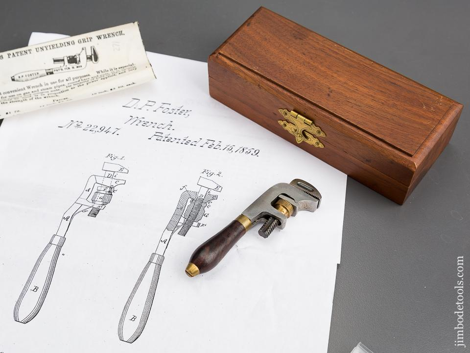 3 5/8 inch FOSTER Patent February 15, 1859 HILLARY KLEIN Wrench in Velvet Lined Wooden Box - 83363