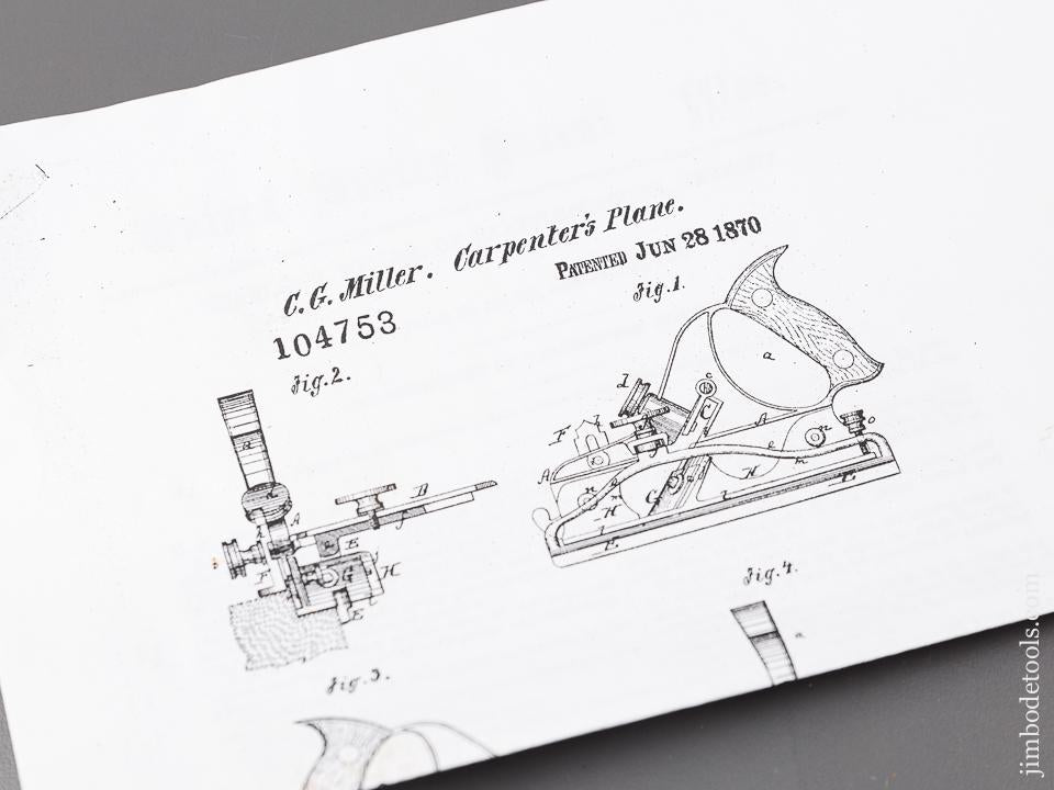 Crisp MILLERS PATENT June 28, 1870 STANLEY No. 41 Combination Plow Plane FINE - 83396