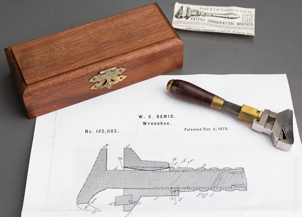 4 3/8 inch BEMIS Patent December 2, 1873 HILLARY KLEIN Wrench in Velvet Lined Walnut Case - 83408