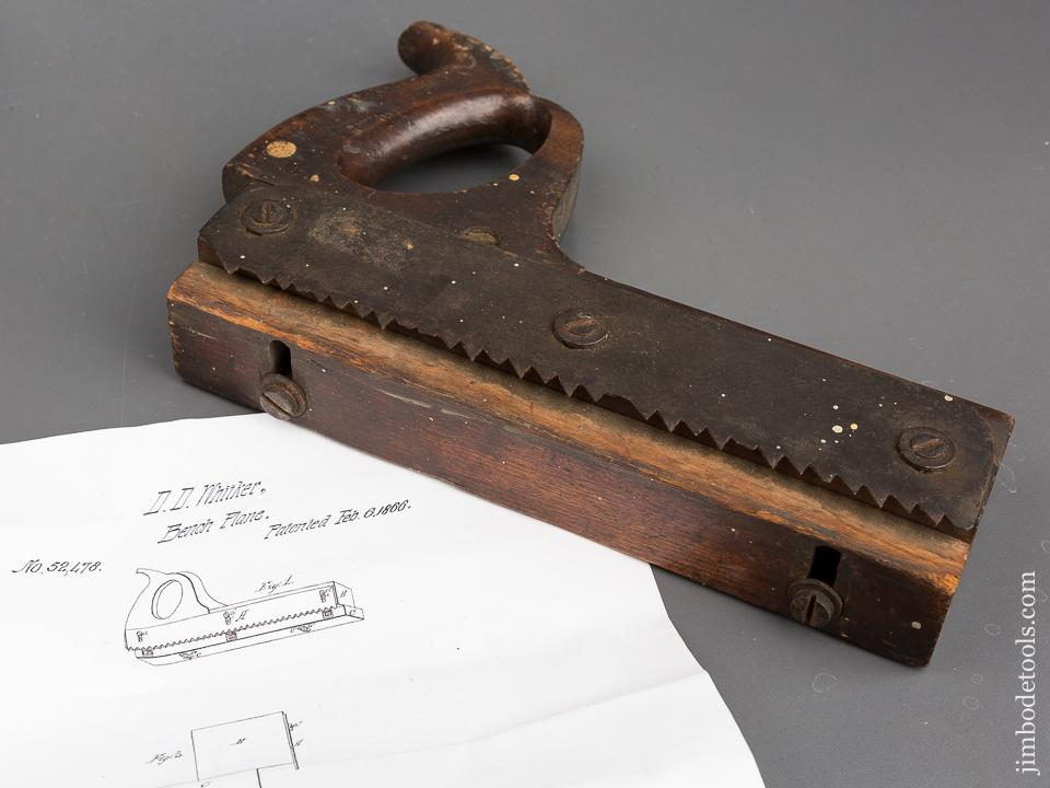 WHITKER Patent February 6, 1866 Handled Saw Rabbet Plane - 83424