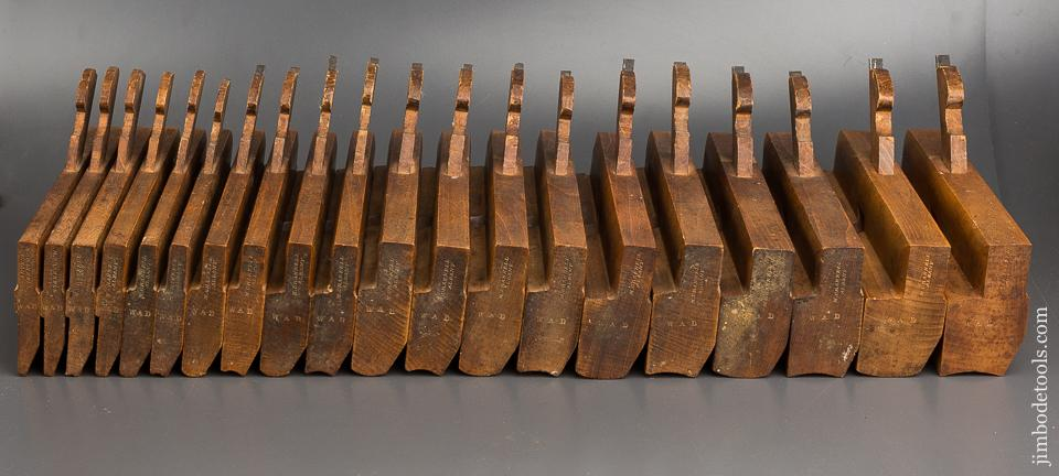 FINE Matched Set of Twenty Hollows & Rounds Molding Planes 2-20 by M. CRANNELL ALBANY circa 1843-78 EVENS - 83492