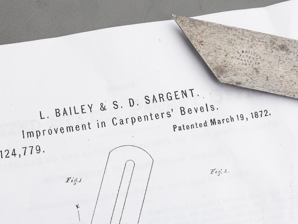 BAILEY & SARGENT Patent March 19, 1872 EXTRA FINE Eight inch Bevel - 83544