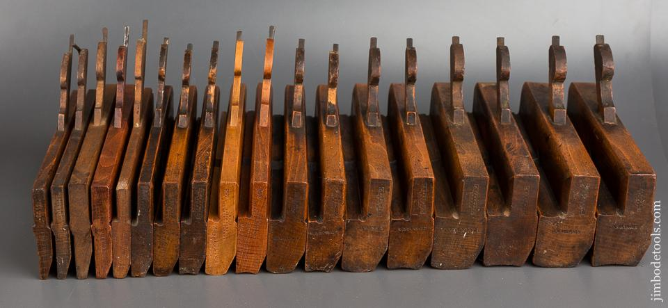 Complete Good User Set of 18 Hollows & Rounds Moulding Planes Numbered 2-18 by VARVILL and EASTWOOD Matched Maker Pairs- 83576