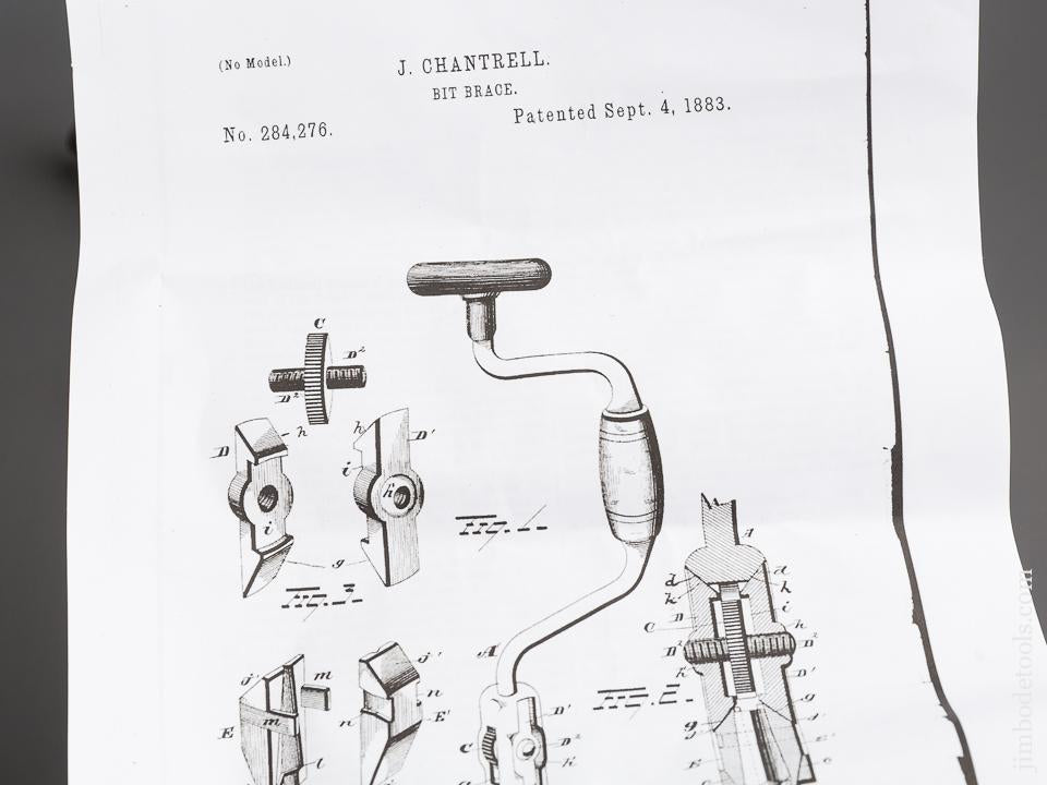 Eight inch CHANTRELL Patent September 4, 1883 Bit Brace - 83732