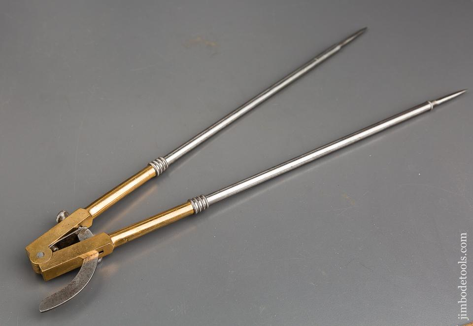 15 inch STODDARD Patent August 27, 1872 Brass & Steel Wing Dividers - 83746