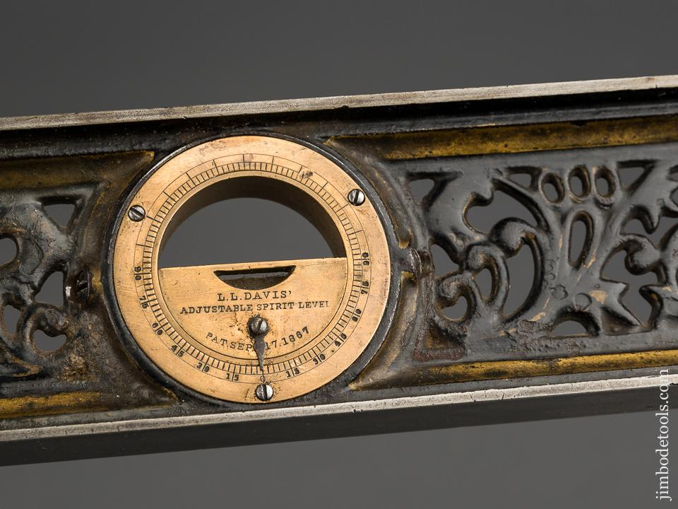 Ornate Twelve inch DAVIS Inclinometer Level with Much Gold Paint! - 83934