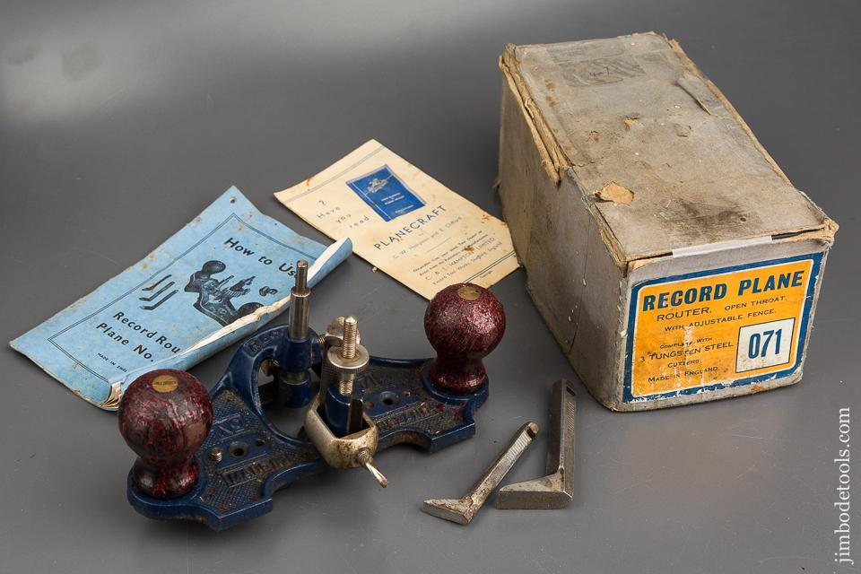 RECORD No. 071 Router Plane 100% COMPLETE in Original Box - 83978
