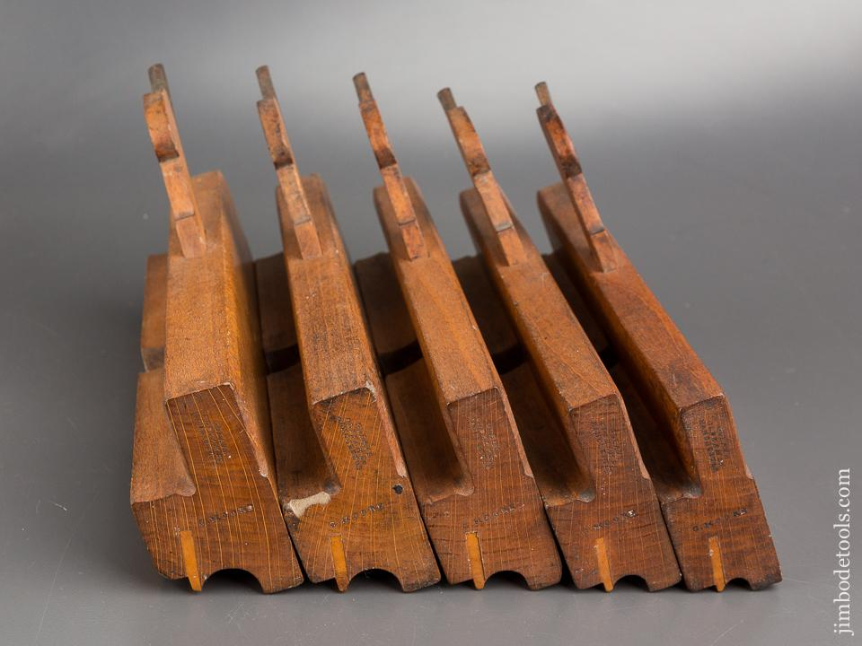 Set of Five GLEAVE OLDHAM ST MANCHESTER Side Bead Moulding Planes circa 1854-68 CRISP & FINE - 84028