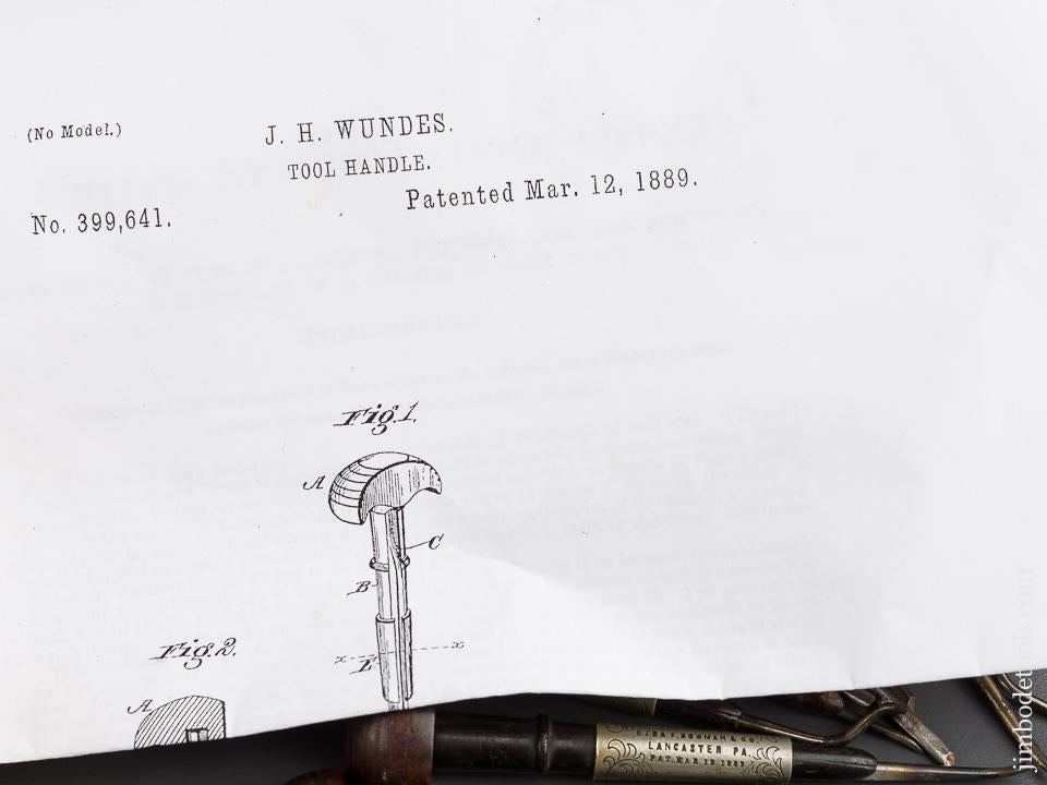 WUNDES Patent March 12, 1889 Set of Nine Gravers - 84089