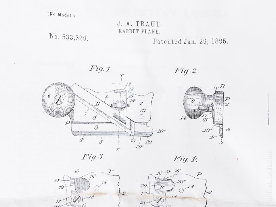 TRAUT Patent January 29, 1895 STANLEY No. 98 & 99 Side Rabbet Planes - 84092