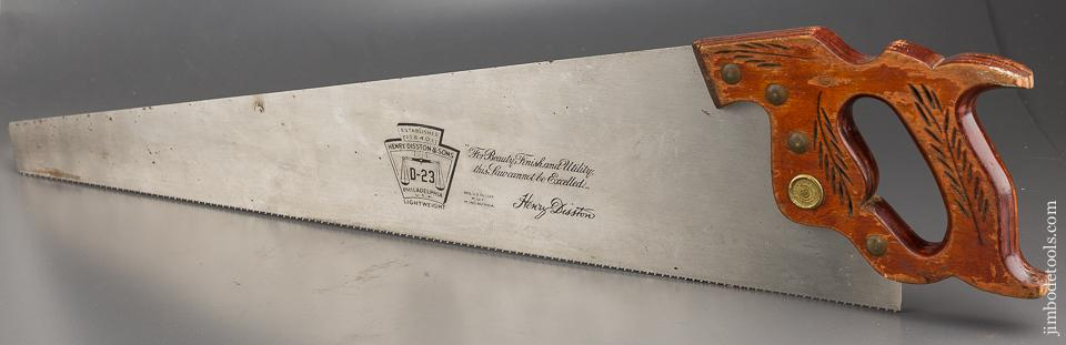 11 point 26 inch Crosscut DISSTON D23 Hand Saw with New Blade - 84114