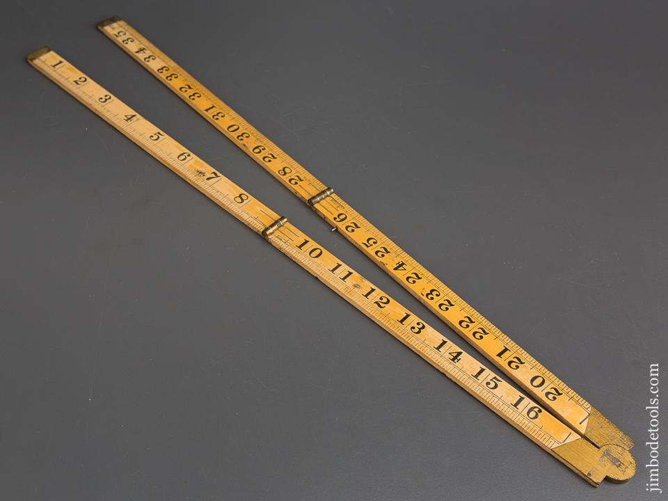 Three Foot LUFKIN No. 3752B Boxwood & Brass Folding Blind Man's Rule EXTRA FINE with Pins - 84137