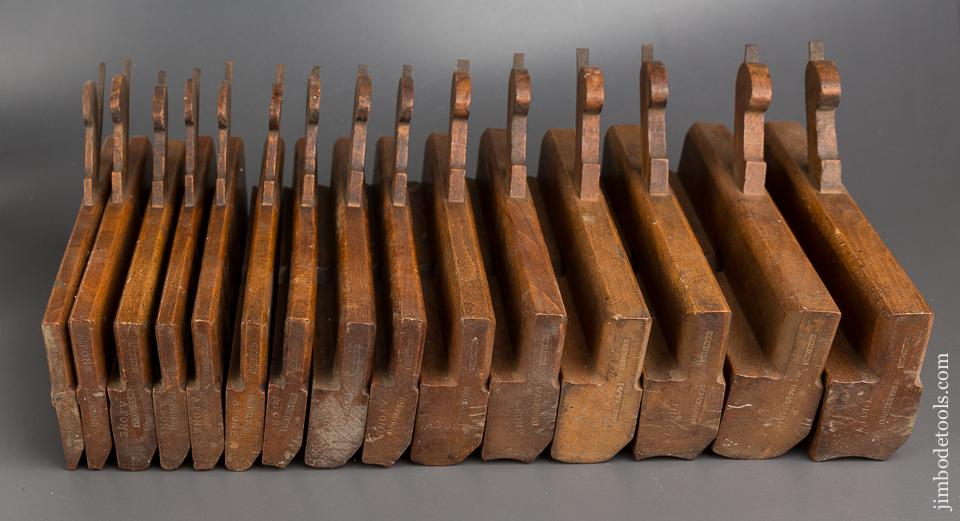 18th Century Set of 15 Hollows & Rounds Moulding Planes by WM. MOSS BIRMINGHAM circa 1775-1843 FINE - 84153