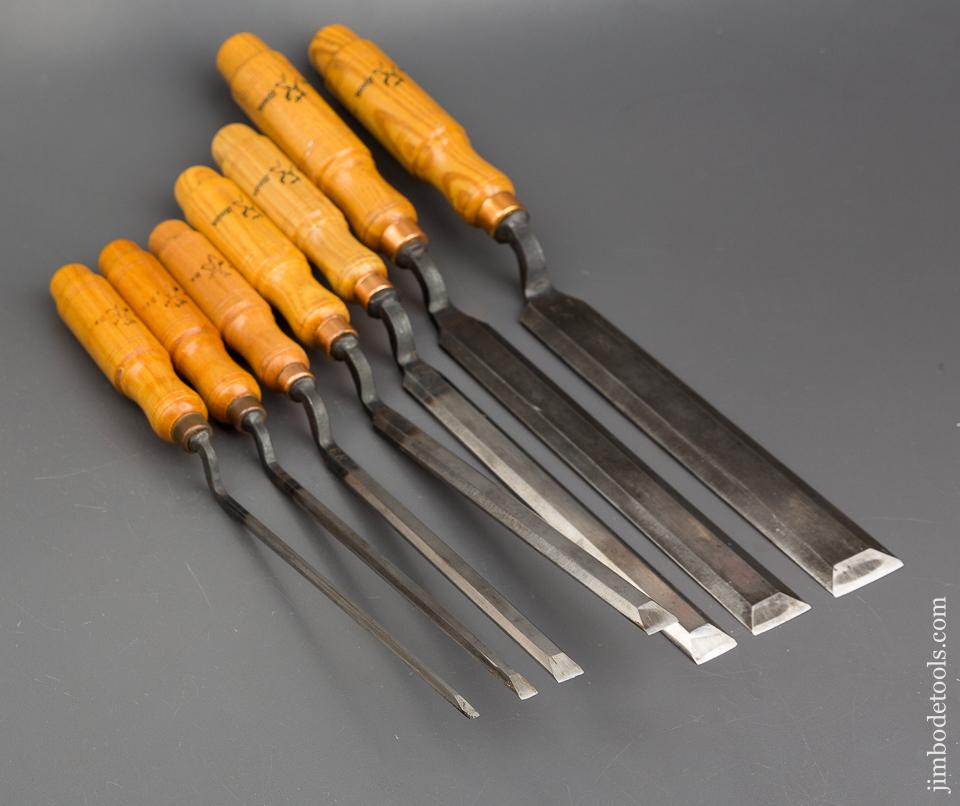 MINT Set of Seven BUCK BROS Pattern Maker's Crank Neck Paring Chisels - 84158