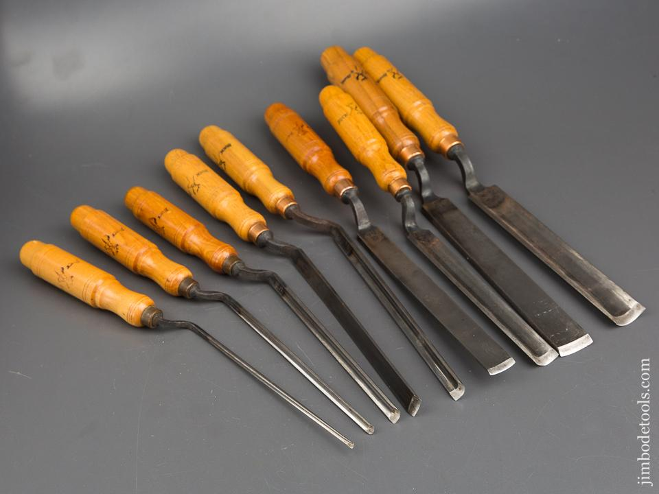 MINT Set of Nine BUCK BROS Crank Neck Pattern Maker's Gouges - 84159