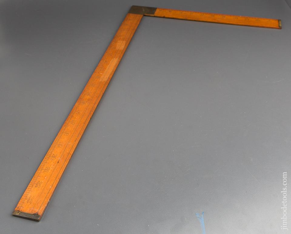 NEAR MINT 14 x 24 inch LUFKIN No. 8238 Boxwood & Brass Tailor's Takedown Square - 84216