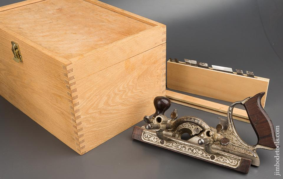 Fine STANLEY No. 46 Skew Plow Plane with Eight Irons and Two Stops in Nice Custom Box - 84250