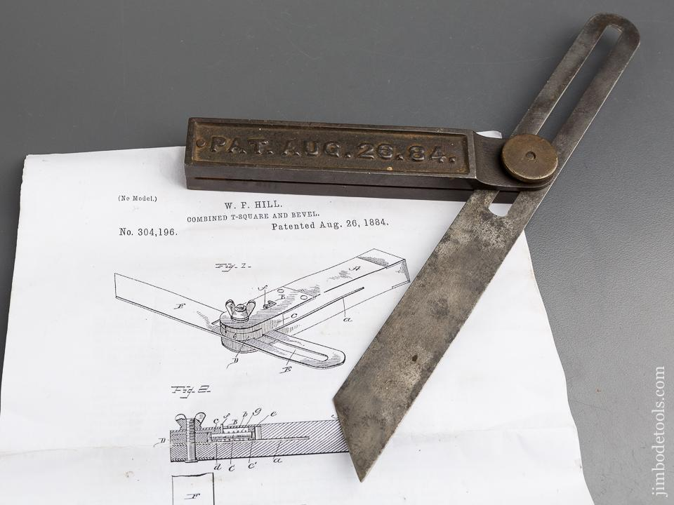 Ten inch HILL Patent August 26, 1884 BOSS Bevel Gauge - 84265R