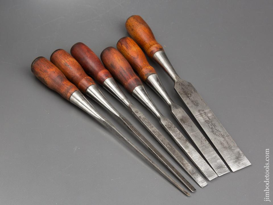 Extra Fine! Set of Six STANLEY No. 20 EVERLASTING Chisels - 84371
