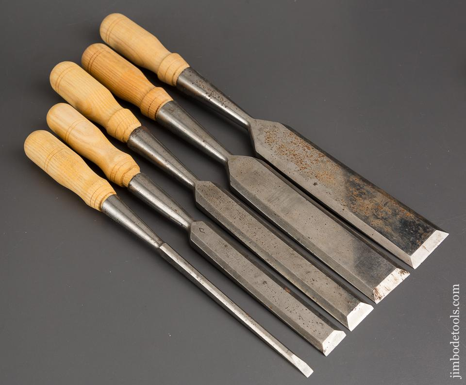 Set of Five NEW HAVEN EDGE TOOL CO Socket Firmer Chisels NEW OLD STOCK - 84398
