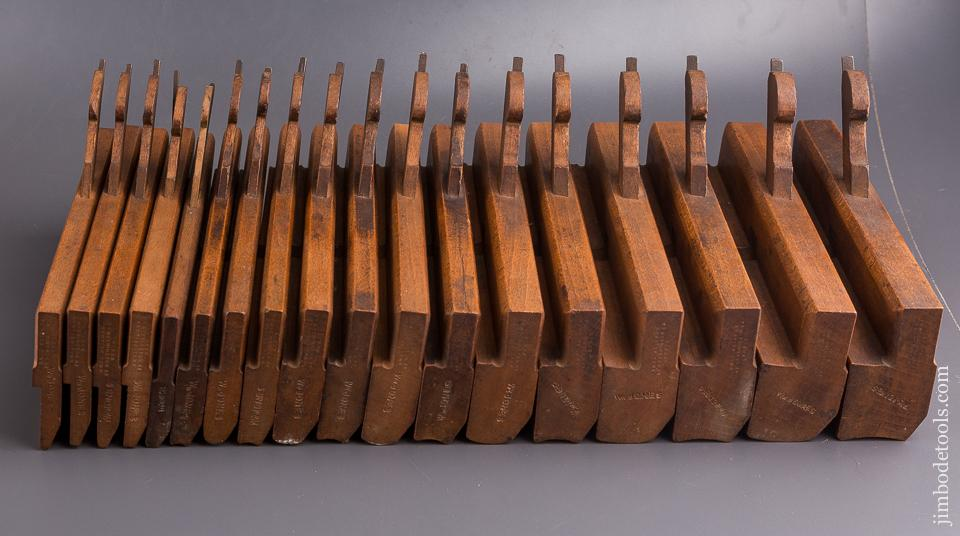 Crisp Skewed Set of Hollows & Rounds Moulding Planes by Edward James BIRCH London circa 1875-1905 EVENS - 84773