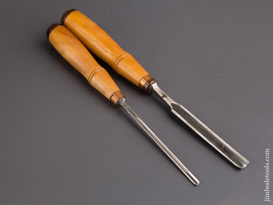 "New Old Stock Pair of 3/16"" and 1/2"" Buck Brothers Gouges -85098"