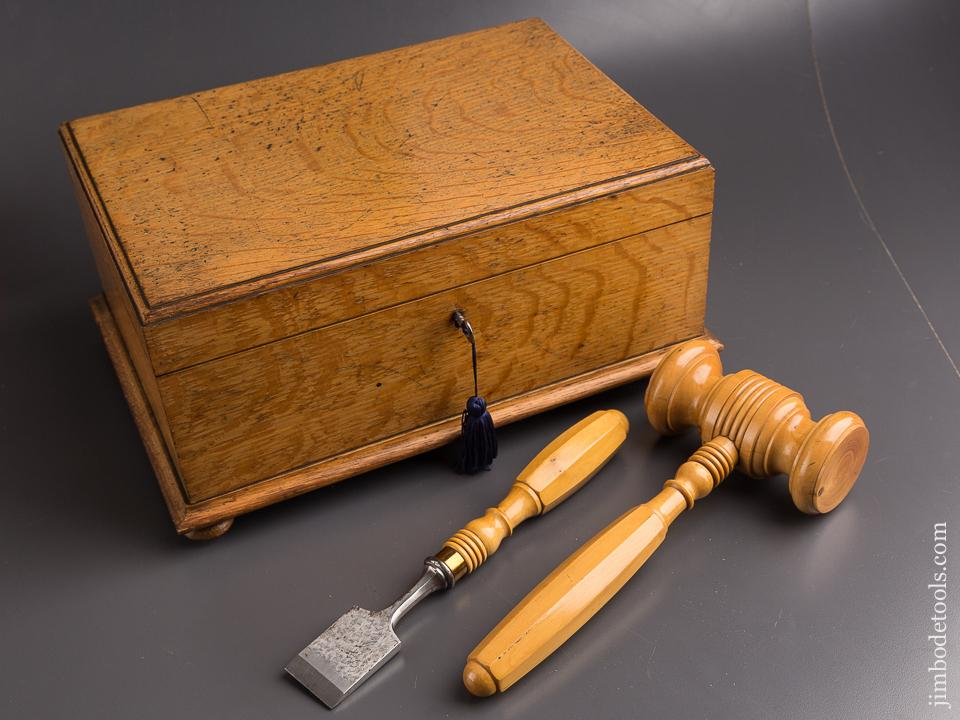 Amazing! Presentation Chisel & Mallet in Solid Boxwood Dated 1908 WOW! - 85679U